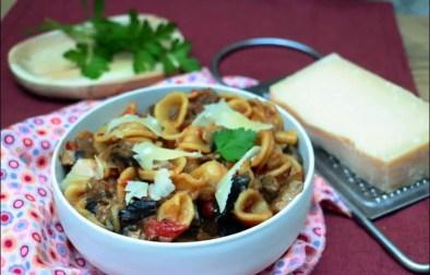 one pot pasta aux aubergines et champignons