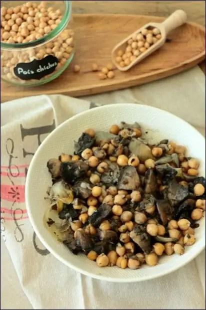 recette pois chiches champignons