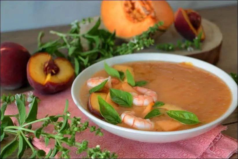 gaspacho aux pêches melon et tomates