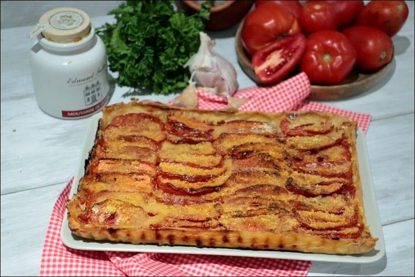 tarte tomate moutarde chair a saucisse