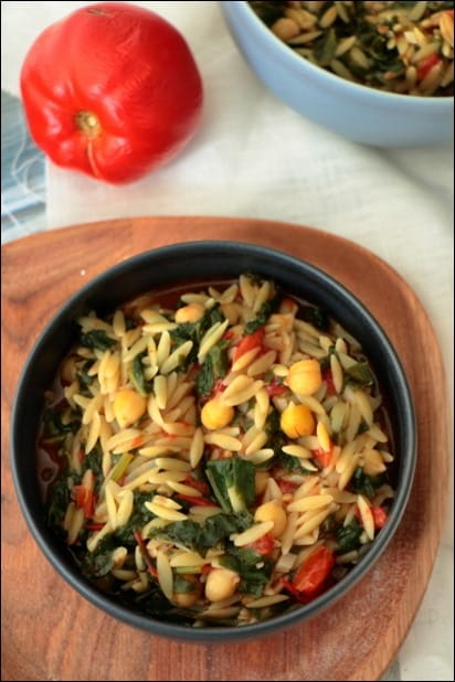orzo epinard pois chiches tomate