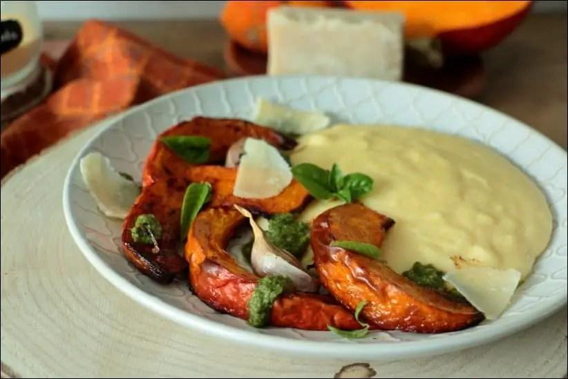 polenta crémeuse et courge rôtie