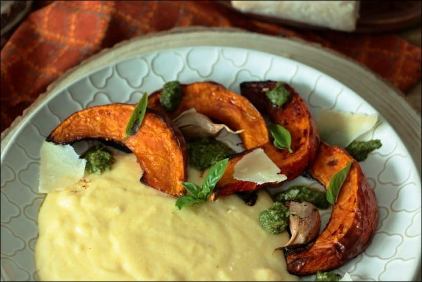 polenta crémeuse au pesto et potimarron