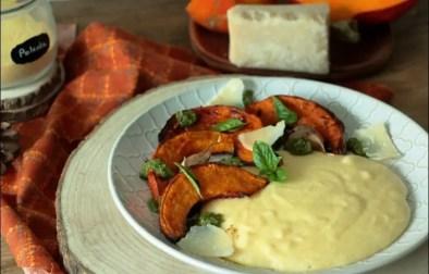 polenta crémeuse pesto et potimarron rôti à l'ail