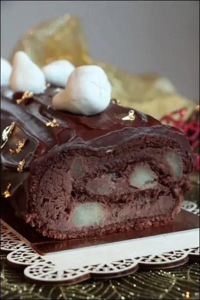 buche poire ganache chocolat