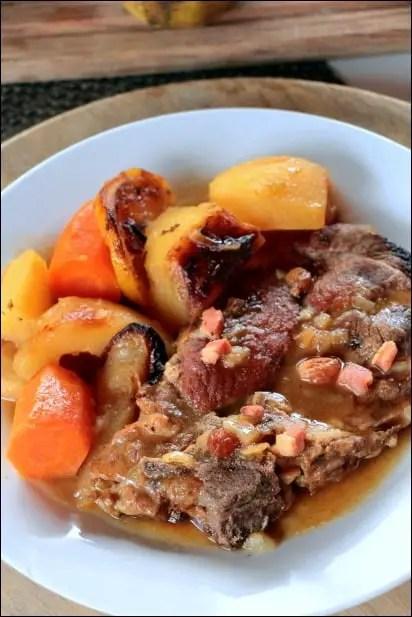 echine porc lardons pommes de terre poire