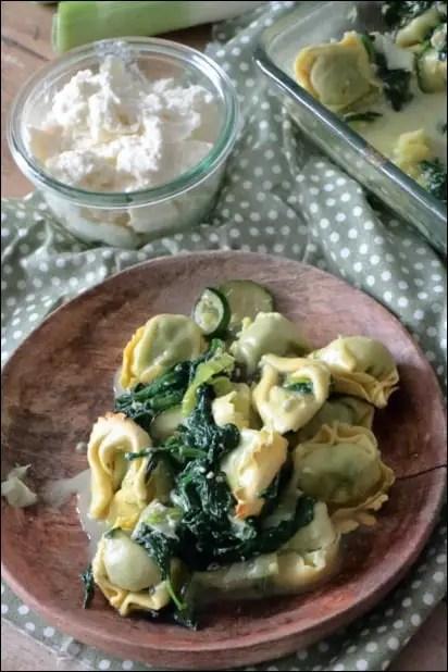 gratin de tortellini brousse et légumes verts