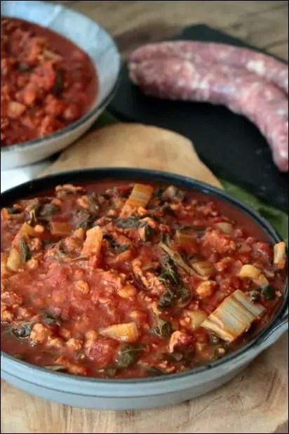 blette sauce tomate viande hachée