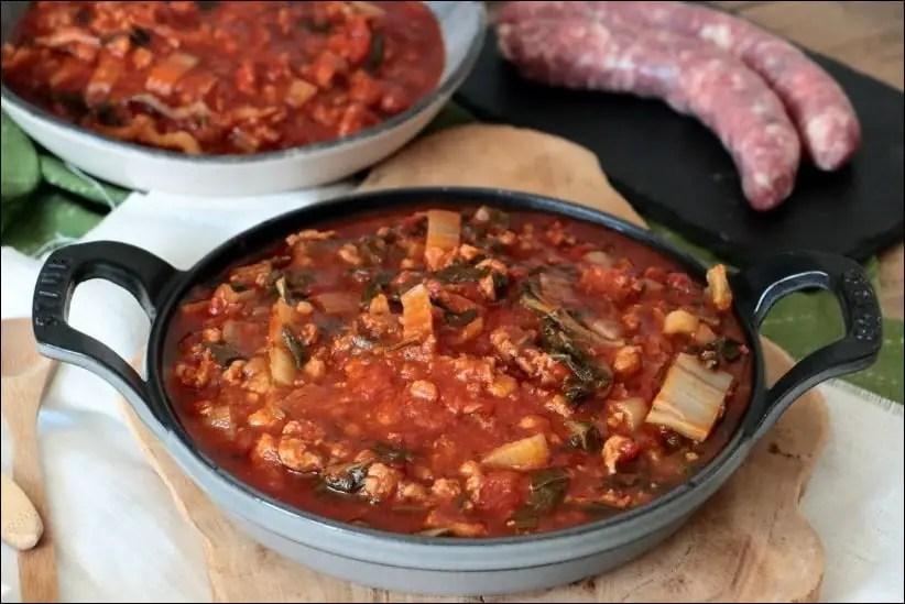 fricot de blettes à la tomate et viande hachée