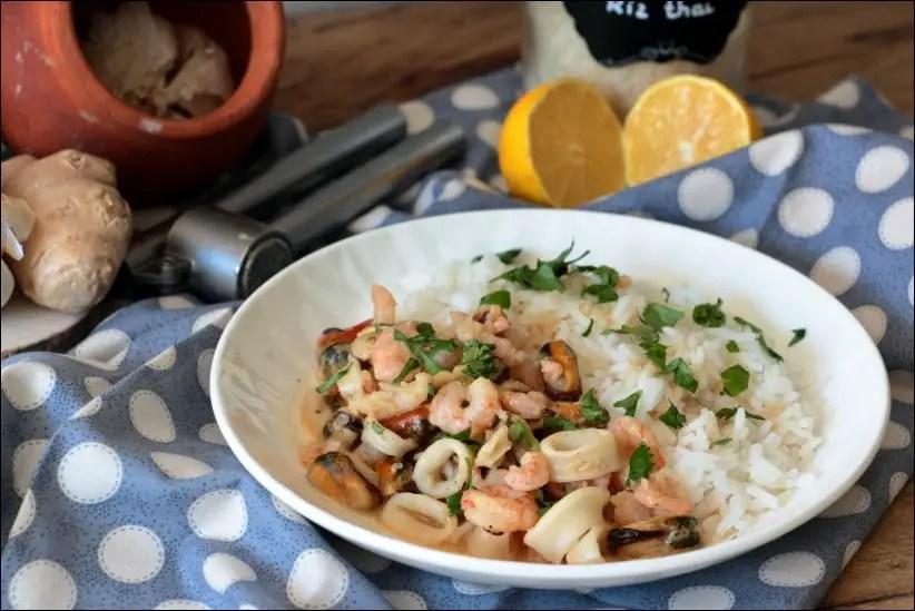 fruits de mer à l'ail et au gingembre