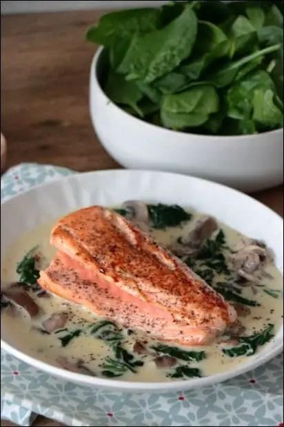 saumon et epinard frais
