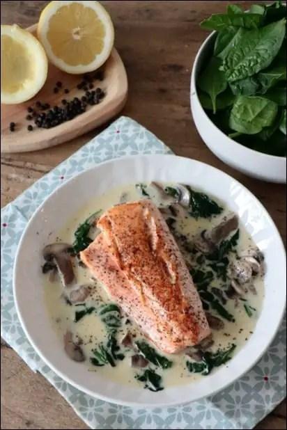 saumon et epinard a la creme