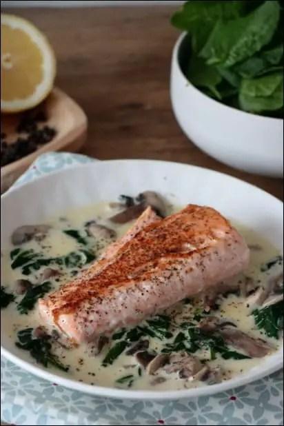 saumon epinard frais champignons creme fraiche