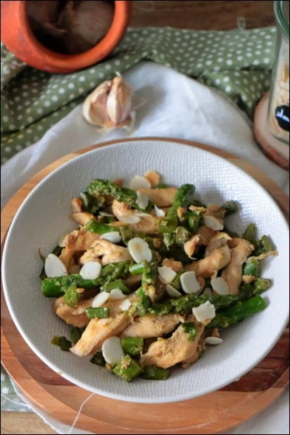 wok poulet asperges vertes sauce soja