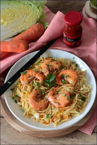 wok crevettes légumes
