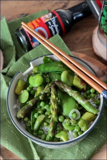 wok pois gourmands asperges fèves petits pois