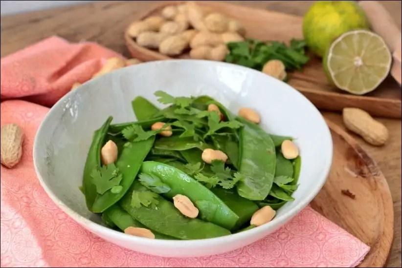 salade pois mange-tout coriandre cacahuètes