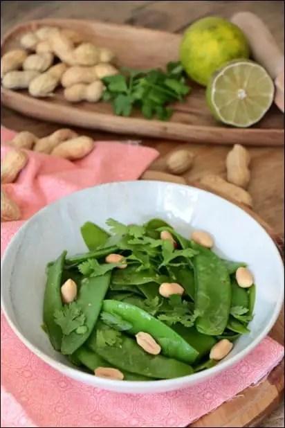 salade pois mange-tout cacahuetes