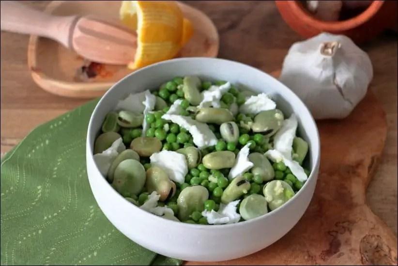 salade petits pois fèves mozzarella