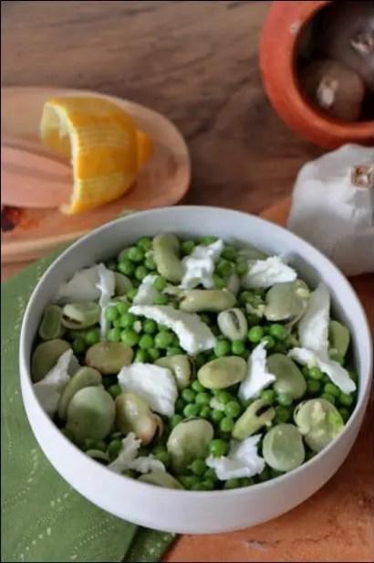 salade petits pois feves mozza