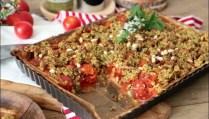 tarte à la tomate et crumble de pesto