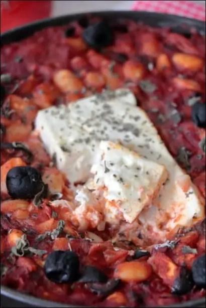 feta rotie haricots blancs sauce tomate origan
