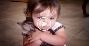 Little Girl Really Loves Her Tiny Sweet Kitty