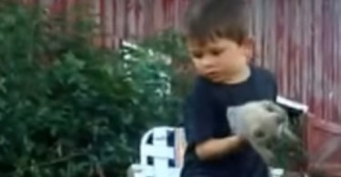 """Little Kid Deals With a Complicated Cat """"Situation"""""""