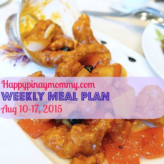 Weekly Meal Plan August 10-17, 2015