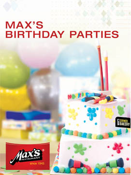 Max's also offer kiddie birthday party packages.