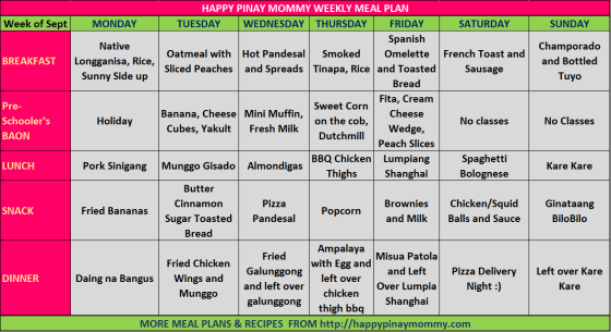 FIlipino Weekly Menu Plan