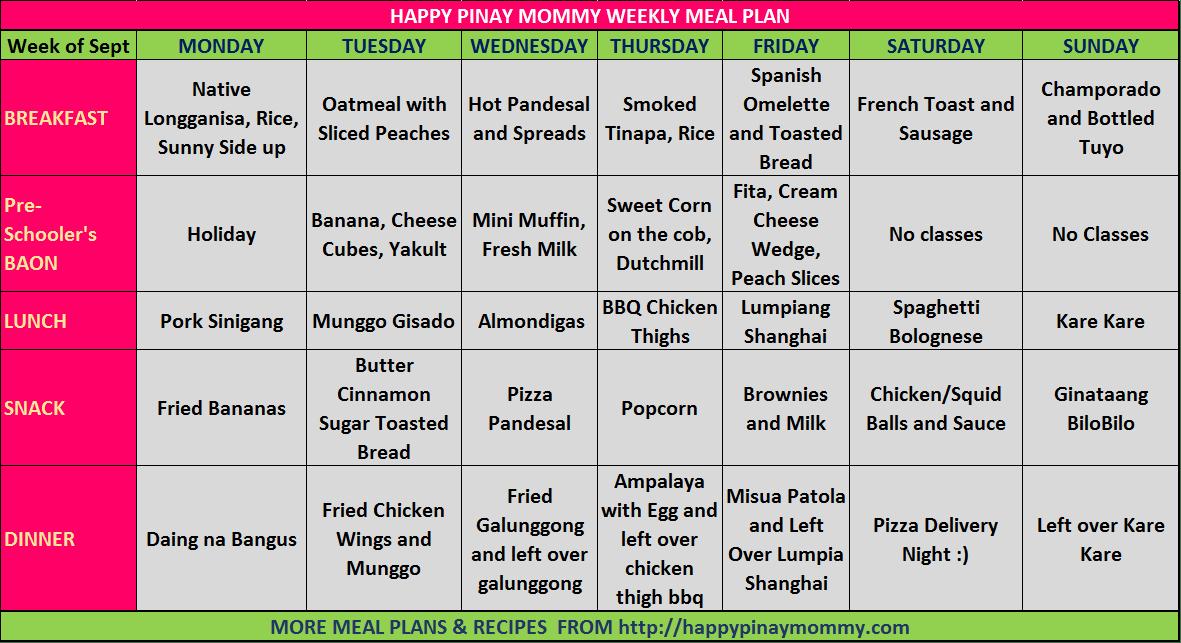 FIlipino Weekly Menu Plan