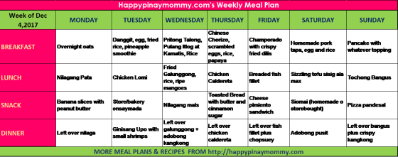 Filipino weekly meal plan for those looking for ulam ideas for the whole week.