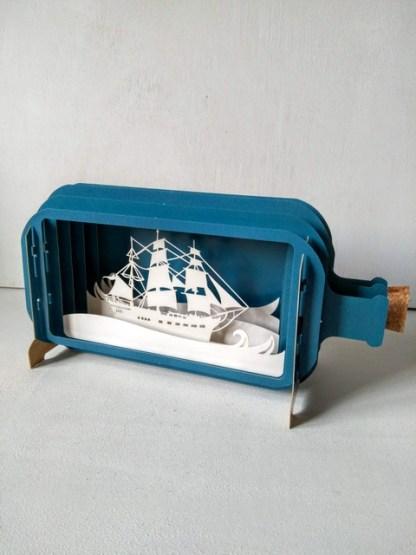 ship in a bottle pop up card