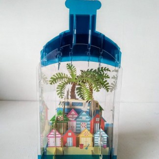 3d beach hut and camper van card