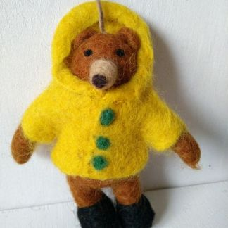 felt bear in coat