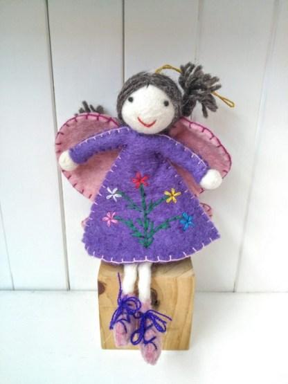 felt purple fairy plaits