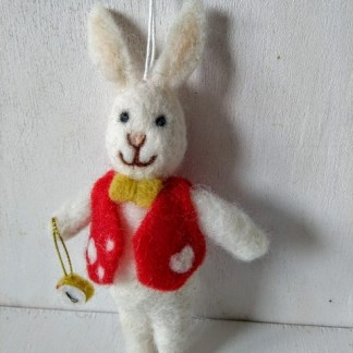 felt white rabbit with clock