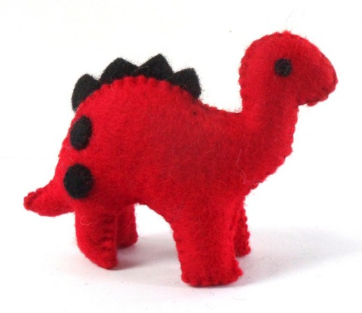 small red an black dino