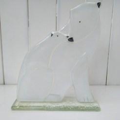 fused glass polar bear and cub