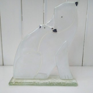 fused glass polar bear and cub