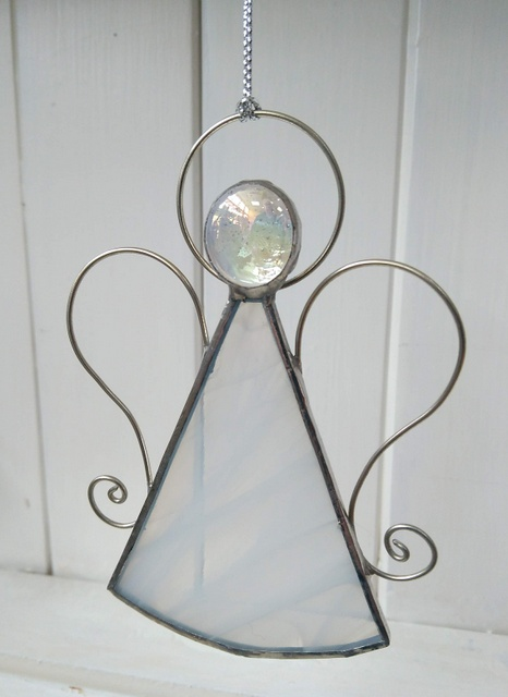 white milky stained glass angel