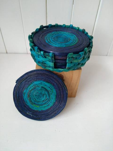 blue paper coasters