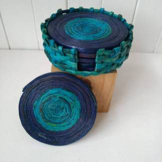 blue paper coasters