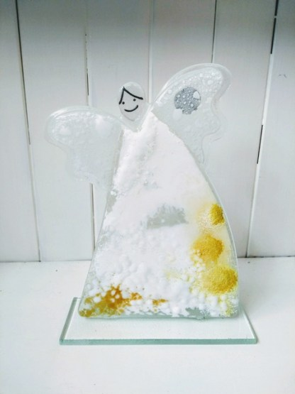 fused glass angel white