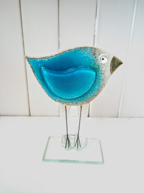 fused glass bird small blue