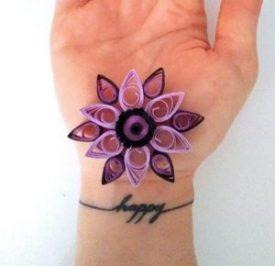 Fleur simple Quilling mauve et noire