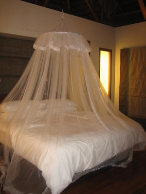 Our bed with the mosquito net