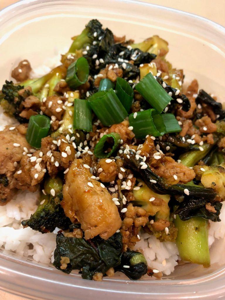 Ground Sesame Chicken & Veggies Meal Prep close up
