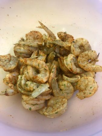 Uncooked shrimp with spicy dry rub